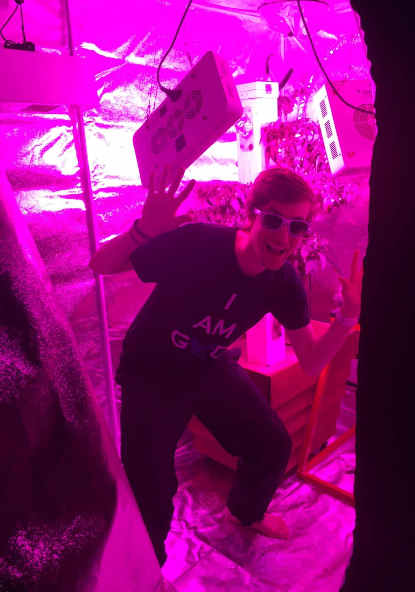 Growlights And Jared In Grow Tent